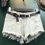 Fashion Tassel Hole High Waist Denim Shorts