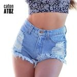 High Waist Hole Tassel Ripped Distressed Denim Short
