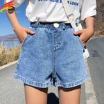 High Elastic Waist Wide Leg  Denim Shorts