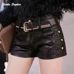 PU leather Faux rivets High waist  leather shorts