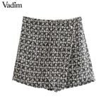 side zipper design  casual chic  tweed shorts