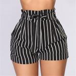 Fashion Belted Ruffle Waist Striped Shorts