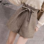 Elegant Woolen Lace-Up High Waist Wide Leg Shorts