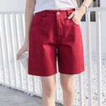 Casual Loose  Pocket Button High Waist Short