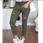 Skinny High Waist Stretch Fashion Hole Hole Pencil Pants