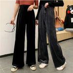 fashion high waist BF loose  wide leg vintage pants