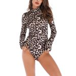 Fashion Leopard Snake Print Elastic Long Sleeve Turtleneck Bodysuit