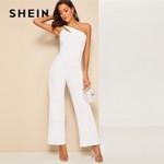 Elegant  Sleeveless High Waist  One Shoulder Wide Leg Jumpsuit