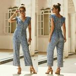 Fashion Long V Neck Wide  Floral Jumpsuits