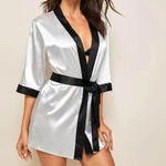 Sexy Bathrobe  Silk  Satin  Long Sleeve  Sleepwear