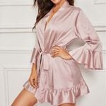 Satin Silk Lace Robe Lace Bathrobe  Sleepwear