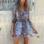 Floral Print  V-Neck sexy Long sleeve  romper