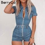 Casual Denim belt  Zipper pockets  romper