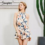 sleeveless floral elegant Sexy off shoulder Halter ruffle  romper