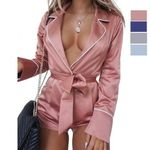 Sexy Long Sleeve  Satin Romper
