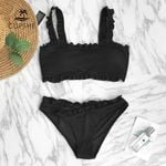 Plain Ruffle Crop Top Thong Two Pieces Bikini