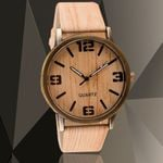 Fashion Quartz Wrist Casual Leather Strap Wooden Watch