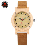 Fashion  Elegant Genuine Leather Maple Wood Watch