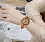 Quartz Novel Geometric Genuine Leather Lovers Wood Watch