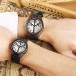 Genuine Leather Life Tree Design Couple Wood Watch