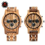 Chronograph  Luxury Stainless Steel Wood Watch