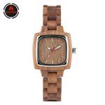 Full Bangle Wrist Square Dial Walnut Wood Watch