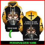 Hihi Store hoodie S / Hoodie A Child of God a Woman of Faith a warrior of Christ Personalized Name ALL OVER PRINTED SHIRTS 112603