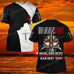 Hihi Store hoodie S / T Shirt Devil get out the blood of Jesus is against you  ALL OVER PRINTED SHIRTS