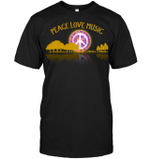 GearLaunch Apparel Unisex Short Sleeve Classic Tee / Black / S M120718 hippie guitar lake shadow peace love music
