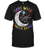 GearLaunch Apparel Unisex Short Sleeve Classic Tee / Black / S M012619  Hippie  Stay wild moon child