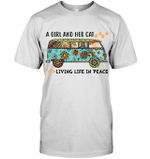GearLaunch Apparel Unisex Short Sleeve Classic Tee / White / S M122718 hippie  a girl and her cats living life in peace