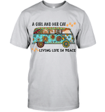 GearLaunch Apparel Unisex Short Sleeve Classic Tee / Ash / S M122718 hippie  a girl and her cats living life in peace