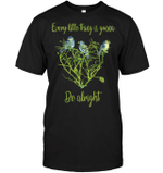GearLaunch Apparel Unisex Short Sleeve Classic Tee / Black / S M011519  Hippie  Every little thing gonna be alright