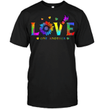 GearLaunch Apparel Unisex Short Sleeve Classic Tee / Black / S M022819 hippie love one another