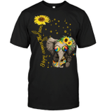 GearLaunch Apparel Unisex Short Sleeve Classic Tee / Black / S M022819  Hippie  Here comes the sun elephant
