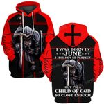 Hihi Store hoodie S / Hoodie Jesus God I was born in June I am a child of God ALL OVER PRINTED SHIRTS