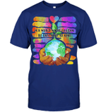 GearLaunch Apparel Unisex Short Sleeve Classic Tee / Deep Royal / S M0111519  Hippie  In a world where you can be anything, be kind Hand Earth