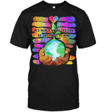 GearLaunch Apparel Unisex Short Sleeve Classic Tee / Black / S M0111519  Hippie  In a world where you can be anything, be kind Hand Earth