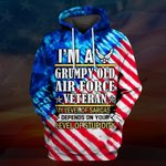 Hihi Store hoodie S / Hoodie US Air Force I'm a Grumpy old Air Force Veteran All Over Printed Shirts 062001