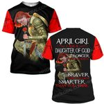 Hihi Store hoodie S / T Shirt Jesus God April girl I am a daughter of God stronger than you believe ALL OVER PRINTED SHIRTS