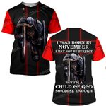 Hihi Store hoodie S / T Shirt Jesus God I was born in November I am a child of God ALL OVER PRINTED SHIRTS