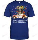 GearLaunch Apparel Unisex Short Sleeve Classic Tee / Deep Royal / S M041719  Hippie  I got a peaceful easy feeling elephant