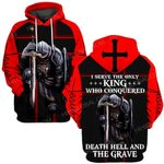 Hihi Store hoodie S / Hoodie Jesus God Christmas Gifts I serve the only King who conquered death hell and the grave ALL OVER PRINTED SHIRTS