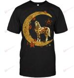 GearLaunch Apparel Unisex Short Sleeve Classic Tee / Black / S M030619  Horse  Moon Hippie Illustration
