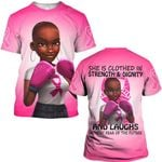 Hihi Store hoodie S / T Shirt Breast cancer she is clothed in strength and dignity and laught without fear ALL OVER PRINTED SHIRTS