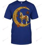 GearLaunch Apparel Unisex Short Sleeve Classic Tee / Deep Royal / S M030619  Horse  Moon Hippie Illustration