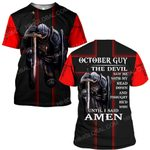 Hihi Store hoodie S / T Shirt Jesus God October guy The devil saw me until I said Amen ALL OVER PRINTED SHIRTS
