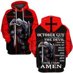 Hihi Store hoodie S / Hoodie Jesus God October guy The devil saw me until I said Amen ALL OVER PRINTED SHIRTS