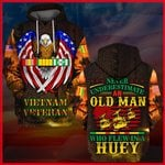 Hihi Store hoodie S / Hoodie Vietnam Veteran Never underestimate an old man who flew in a Huey All Over Printed Shirts 062501