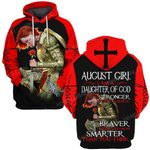 Hihi Store hoodie S / Hoodie Jesus God August girl I am a daughter of God stronger than you believe ALL OVER PRINTED SHIRTS